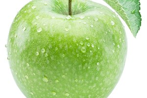 Ripe green apple with water drops