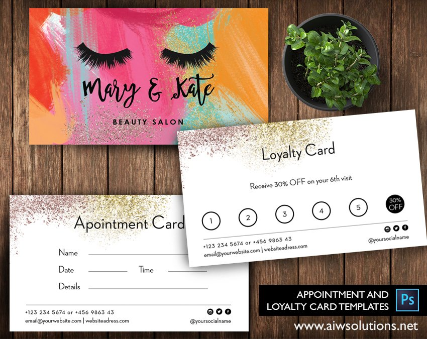 Appointment Loyalty Card ID Card Templates Creative Market - Business loyalty card template