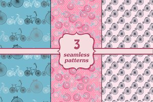 3 seamless patterns with bicycles