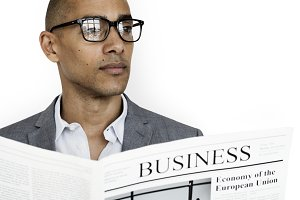 Business Man Newspaper (PNG)