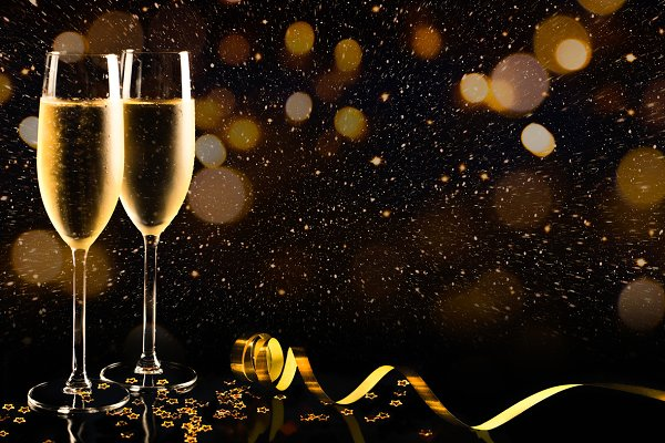 New year with champagne