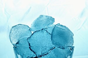 Ice cubes in a freezer