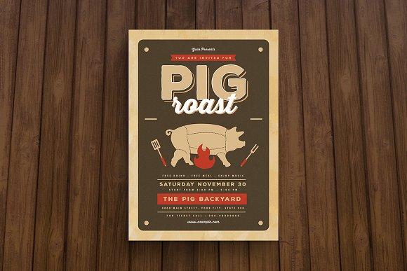 Pig Roast Flyer Flyer Templates Creative Market