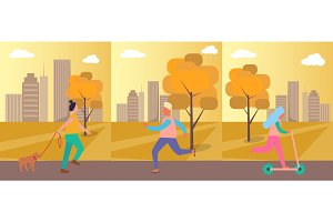People Doing Activities on Vector Illustration