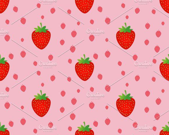 Seamless Strawberry Pattern Graphic Patterns Creative Market New Strawberry Pattern