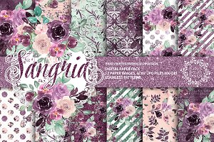 Sangria digital paper pack