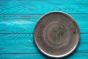 Gray textured plate dish background
