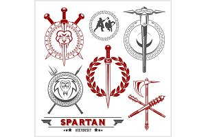 Spartan Team Logo and emblems - vector set