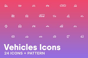 Vehicles Icons + Pattern