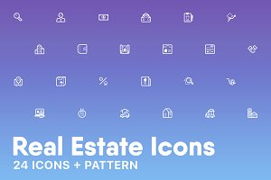 Real Estate Icons + Pattern
