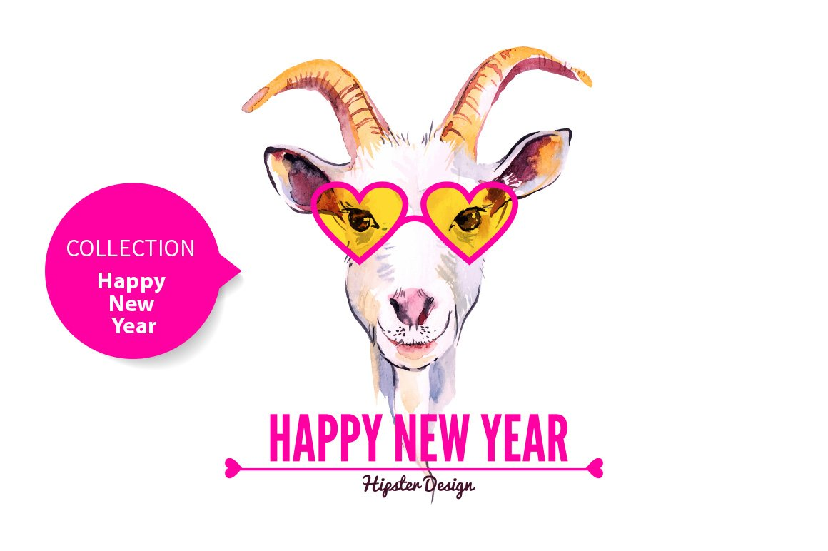Hipster Goat Happy New Year Cards Illustrations Creative Market
