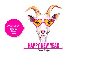 Hipster Goat Happy New Year Cards