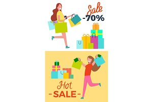 Hot Sale -70% Posters Set Vector Illustration