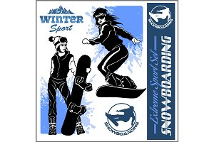 Snowboarders - vector set. Vector illustration.