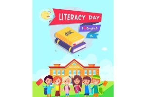 Literacy Day Poster Vector Illustration