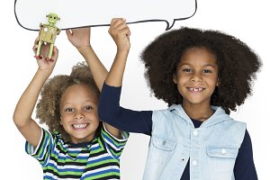 Kids are in a studio (PNG)