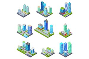 Isometric 3D set summer city quarters