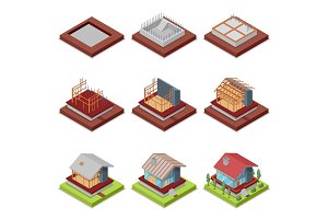 Isometric 3D set construction stages of house