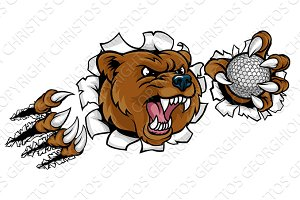 Bear Holding Golf Ball Breaking Background