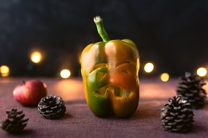 Halloween pepper with scary face