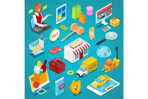 Online shopping isometric 3D set