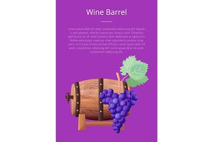 Wine Barrel, Text and Title Vector Illustration