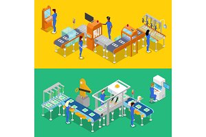 Isometric 3D production line concept set