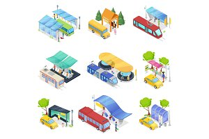 Isometric 3D set city public transport