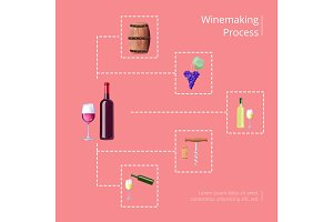 Winemaking Process Vector Illustration on Red
