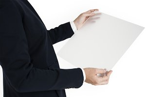 Woman Holding Document (PNG)