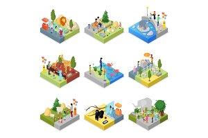 Public zoo landscapes isometric 3D set