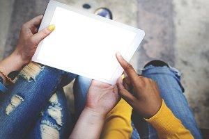 People using digital tablet(PNG)