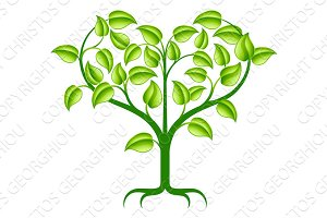 Green heart tree illustration