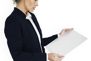 Business Woman Holding Document(PNG)