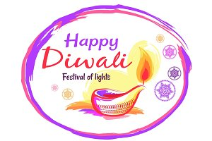 Happy Diwali Poster with White Background and Text
