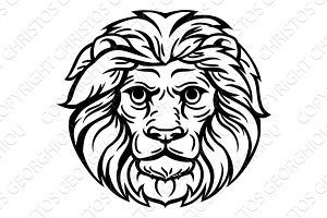 Woodcut Lion Head Concept