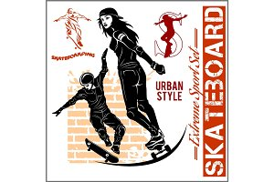 Skateboarders - vector set of extreme sport