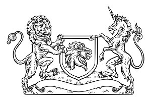 Coat of Arms Heraldic Lion and Unicorn Shield