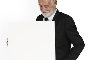Man Showing Presenting Document(PNG)