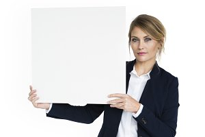 Business Woman Holding Paper