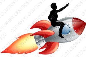 Businessman riding rocket ship