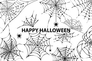 Happy Halloween Cobweb Spiders Vector Illustration