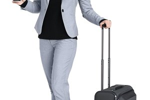 Woman Travel Luggage Concept (PNG)