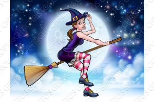 Halloween Witch Flying on Broomstick Scene