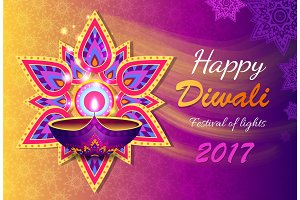 Happy Diwali Lights Festival Vector Illustration