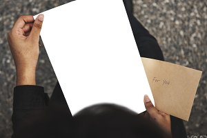 person reading the letter (PNG)