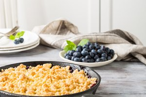 Coconut crumble in cast iron pan