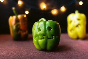 Halloween peppers with scary faces