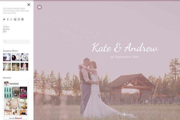 Tumblr Themes: Themelantic - Wedding Tumblr Theme