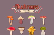 Vector mushrooms set